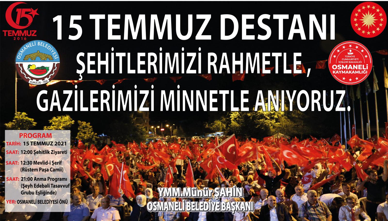 Osmaneli Belediyesi - 15 Temmuz Tebriği İlanı